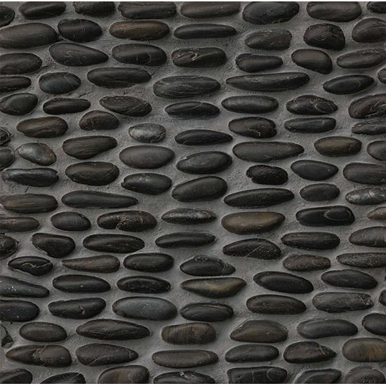 Hemisphere PEBBLE Mosaics Polished Stacked in Panther Black