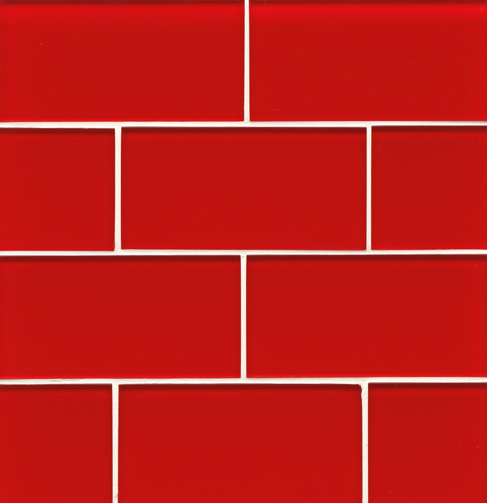 Hamptons Glass 4X12 Field Tile in Buoy Red