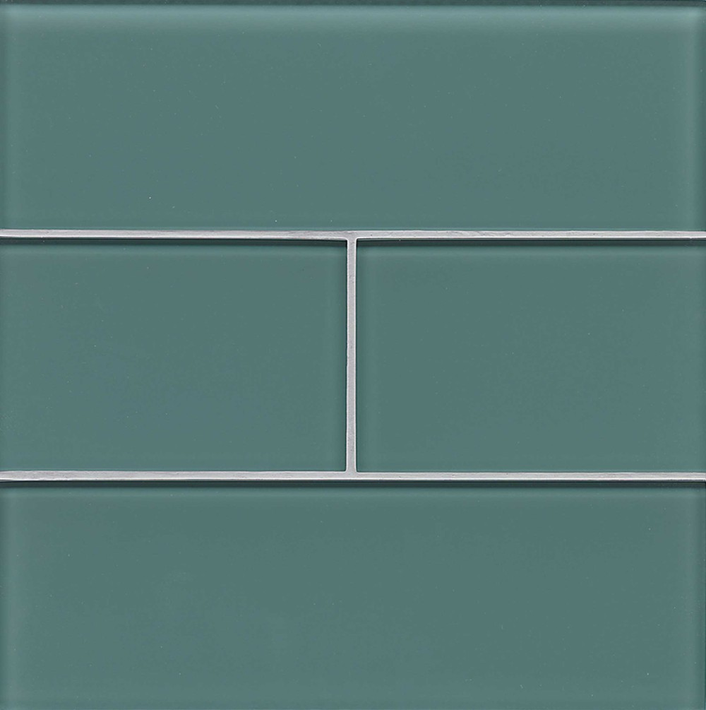 Hamptons Glass 4X12 Field Tile in Wave Teal