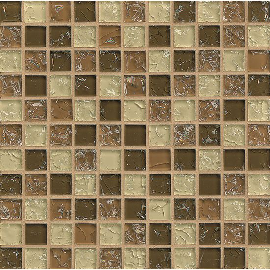 Bedrosians 1x1Glass Mosaic Ice Crackle Gloss
