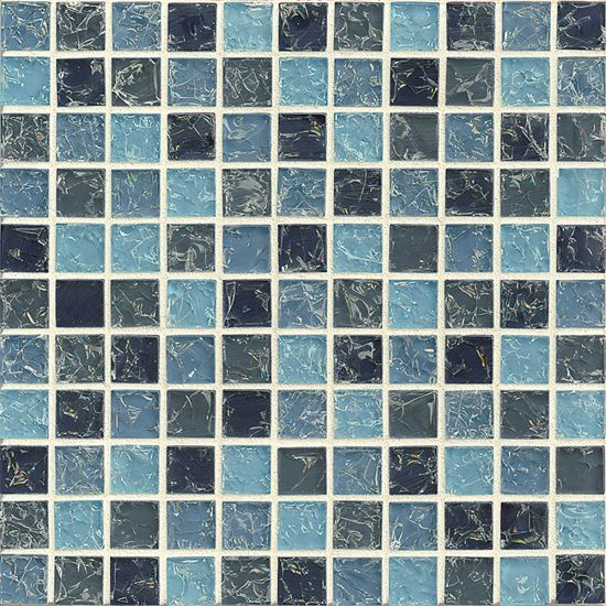 Bedrosians 1x1Glass Mosaic Ice Crackle Gloss in Light & Dark Blue
