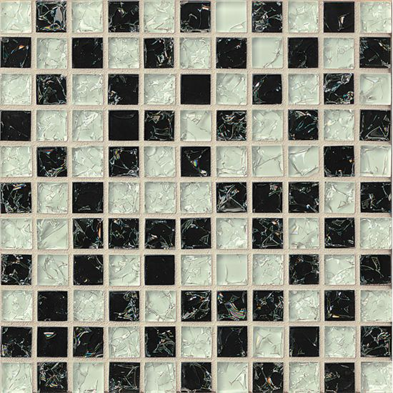 Bedrosians 1x1Glass Mosaic Ice Crackle Gloss in Black & Gray