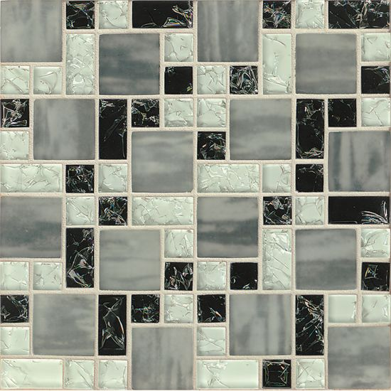 Bedrosians Mosaic Pattern Ice Crackle Gloss-Matte in Black & Gray