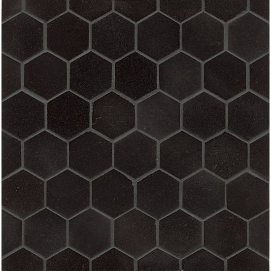 Bedrosians Granite  Absolute Black Hexagon 2 Mosaic Polished""