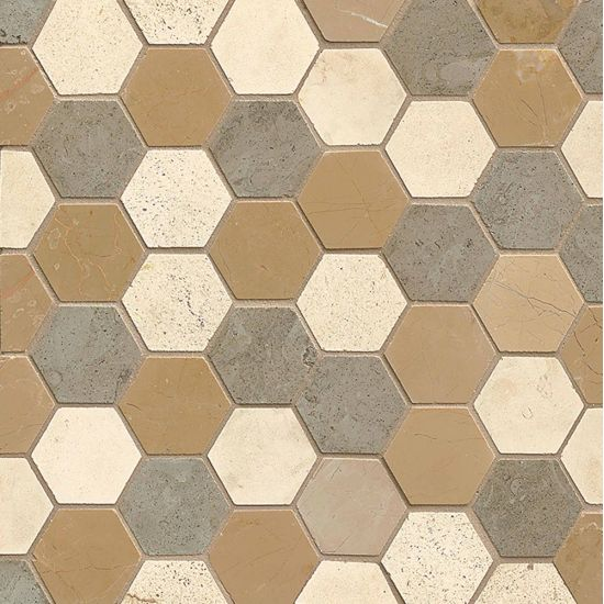 Bedrosians Hexagon Mosaic Blend 126 on 12x12 Sheet