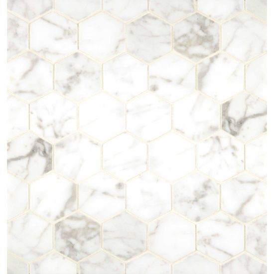 Bedrosians 2inch White Carrara Hexagon Mosaic Polished