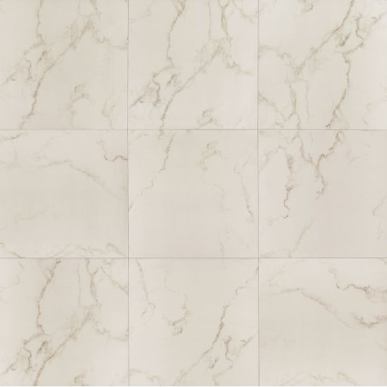 Carrara 20x20 Polished Porcelain Tile in Calacata white with gray and gold