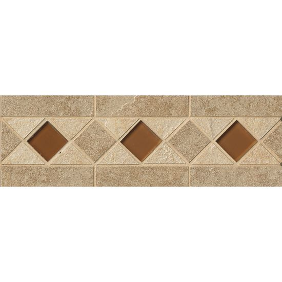 Eddie Floor Listello with Glass on 4x13 sheet in Beige almond