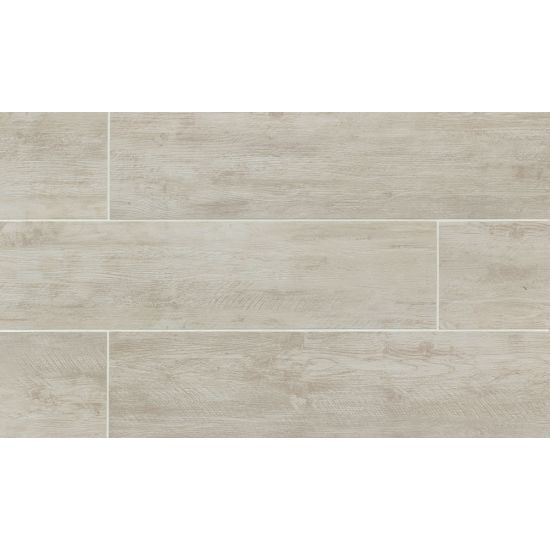 River Wood 8x24 Porcelain Tile in Blanc