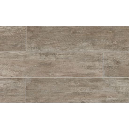River Wood 8x36 Porcelain Tile in Taupe