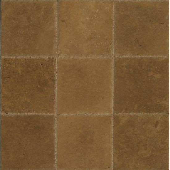 Bedrosians Travertine Noce 8X8 Antiqued Cross Cut Filled Brushed Chiseled