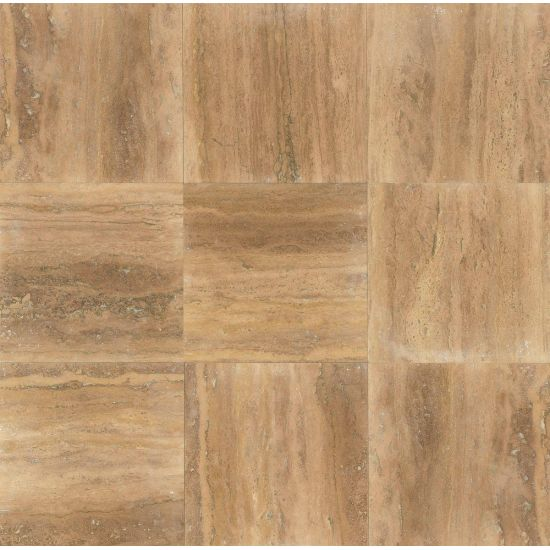 Bedrosians Travertine Sedona Broze 18x18 Filled & Honed Vein Cut