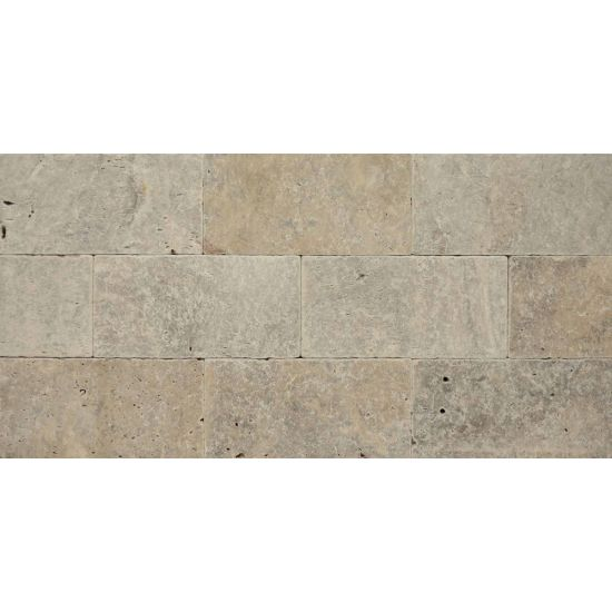 Bedrosians Travertine Silver Mist 8x16 Tumbled Paver 3cm