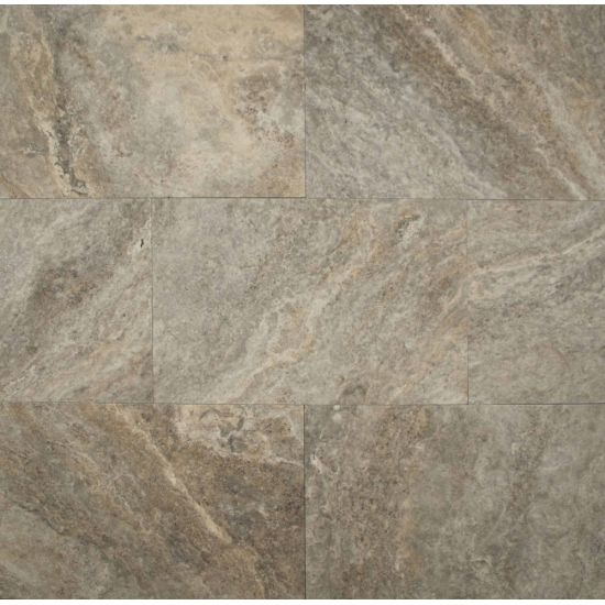 Bedrosians Travertine Silver Mist 16x24 Brushed & Straight Edge