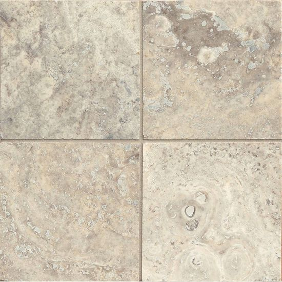 Bedrosians Travertine Silver Mist 6x6 Filled & Honed