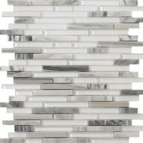 Emser Tile  GLASS - LUCENTE GRAZIA LINEAR STONE & GLASS BLEND MOSAIC 13X13 W80LUCEGR1313MOB