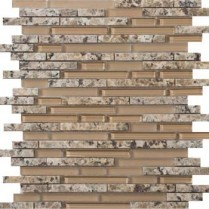 Emser Tile  GLASS - LUCENTE ISOLA LINEAR STONE & GLASS BLEND MOSAIC 13X13 W80LUCEIS1313MOB