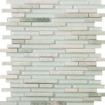 Emser Tile  GLASS - LUCENTE LAZARRO LINEAR STONE & GLASS BLEND MOSAIC 13X13 W80LUCELA1313MOB