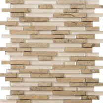 Emser Tile  GLASS - LUCENTE LIDO LINEAR STONE & GLASS BLEND MOSAIC 13X13 W80LUCELI1313MOB