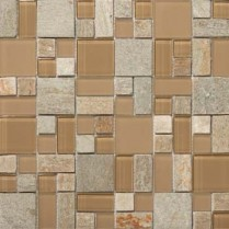 Emser Tile  GLASS - LUCENTE PUNTINI PATTERN STONE BLEND MOSAIC ON 13X13 W80LUCEPU1313MPB